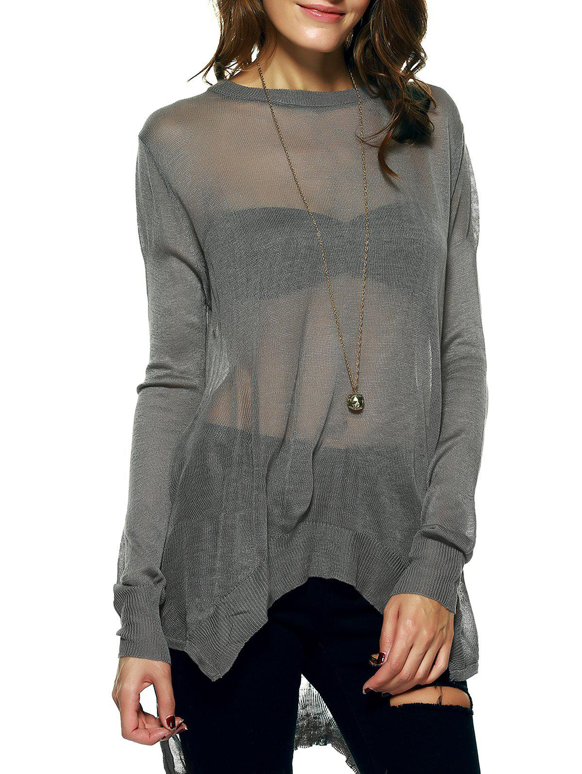 Elegant See-Through Long Sleeve Asymmetric Ribbed Knitwear