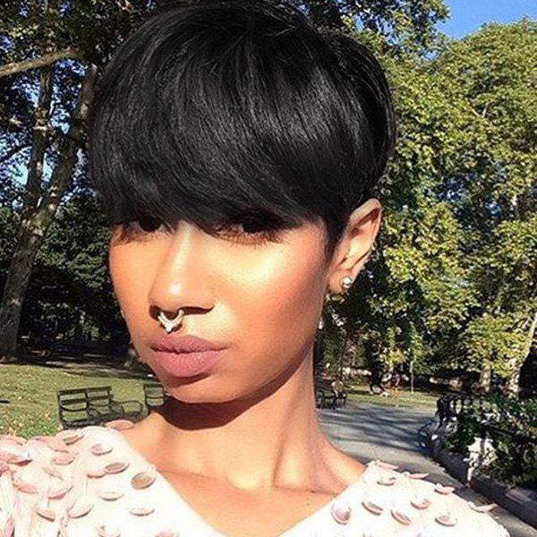 Fashion Short Jet Black Human Hair Straight Full Bang Capless Wig For Women - JET BLACK