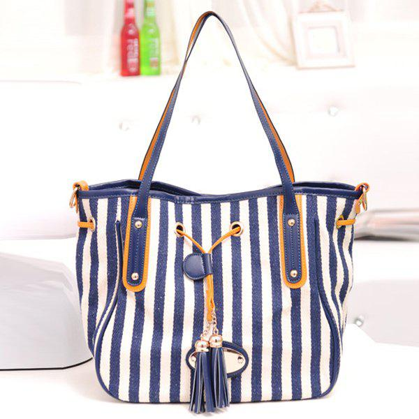 Stylish Striped and Tassel Design Women's Shoulder Bag - BLUE