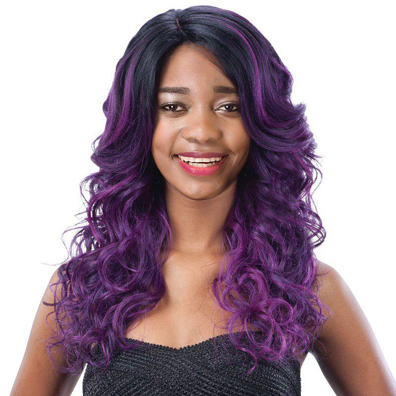 Women's Long Side Parting Curly Black Mixed Purple Fashion Synthetic Hair Wig