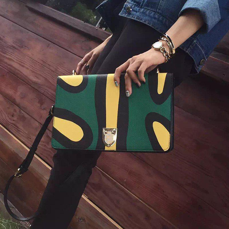 Trendy Flap and Color Block Design Women's Crossbody Bag - GREEN