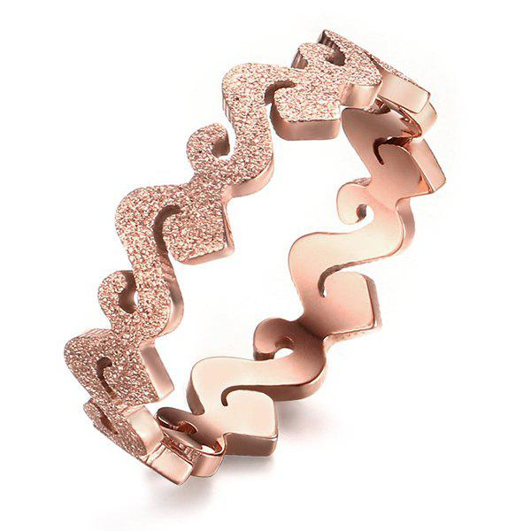 Delicate Rose Gold Cut Out Matte-finished Geometric Ring For Women