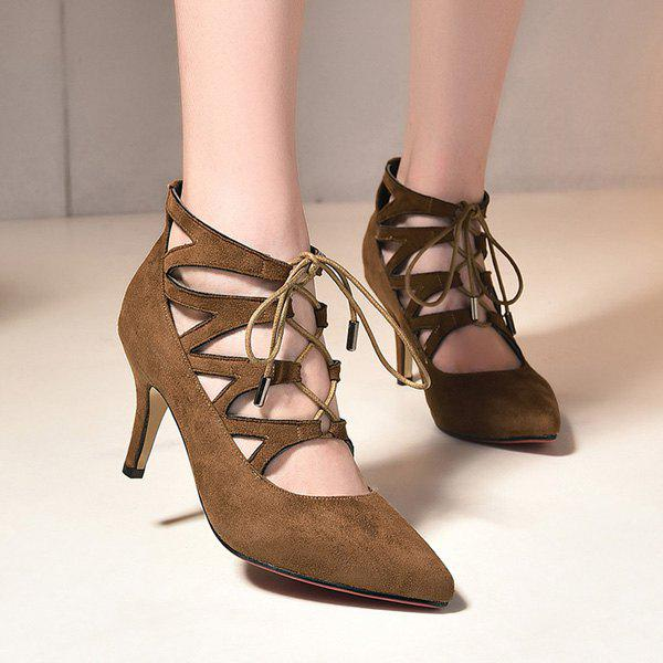 Fashion Suede and Tie Up Design Women's Pumps - DARK KHAKI 39