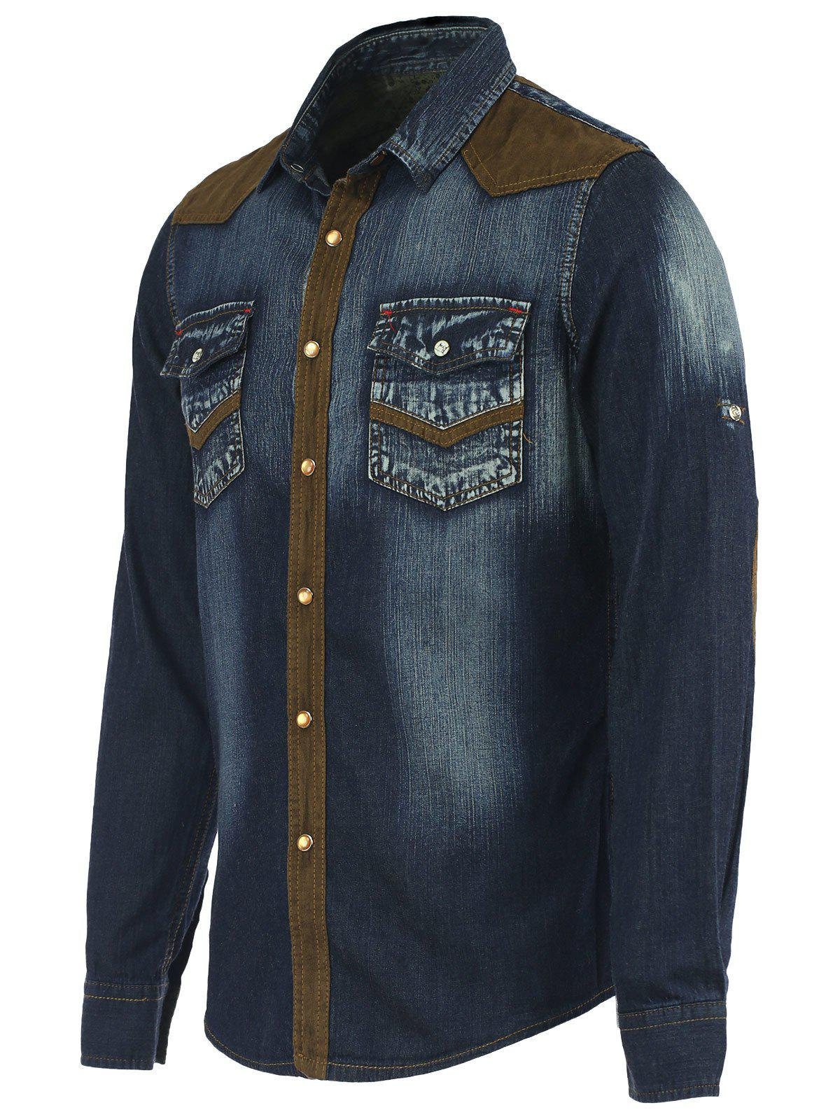 Suede Spliced Pockets Long Sleeve Denim Shirt - BLUE M