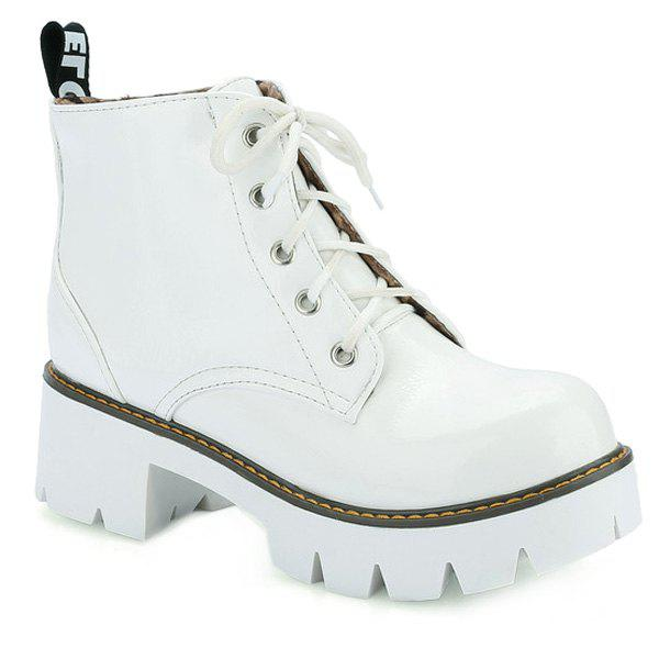 Trendy Platform and Tie Up Design Women's Short Boots - WHITE 39