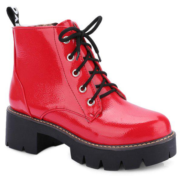 Trendy Platform and Tie Up Design Women's Short Boots - RED 39