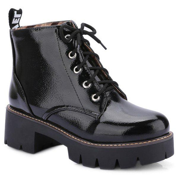 Trendy Platform and Tie Up Design Women's Short Boots - BLACK 39