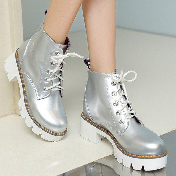 Trendy Platform and Tie Up Design Women's Short Boots - SILVER 39