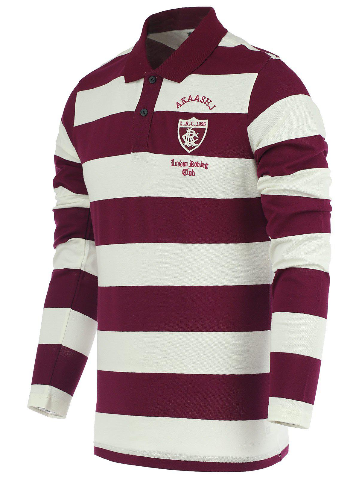Stripe Embroidery Long Sleeve Polo T-Shirt - RED L