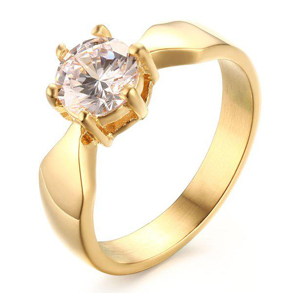 Stylish Gold Plated Rhinestone Wedding Ring For Women