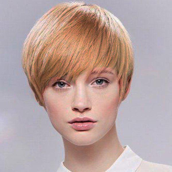 Attractive Short Hairstyle Capless Straight Women's Human Hair Wig - DARK ASH BLONDE