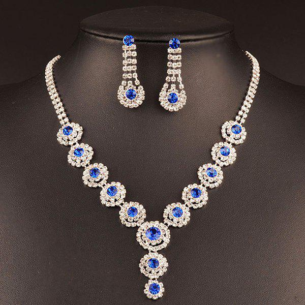 Rhinestoned Floral Wedding Jewelry Set - BLUE
