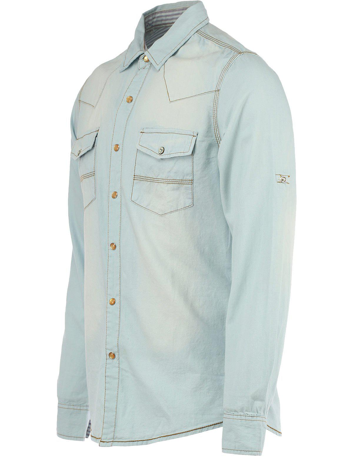Bleach Wash Pockets Long Sleeve Denim Shirt - LIGHT BLUE M