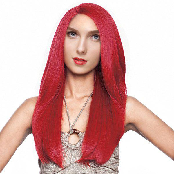 Graceful Women's Long Side Parting Straight Red Synthetic Hair Wig - RED