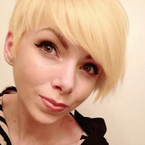 Vogue Straight Real Human Hair Short Pixie Cut Capless Wig For Women - GOLDEN BROWN/BLONDE