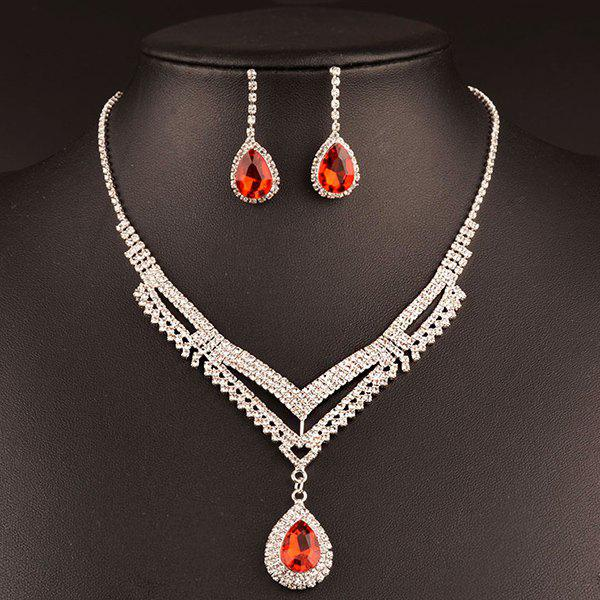 A Suit of Vintage Water Drop Wedding Jewelry Set For Women - RED