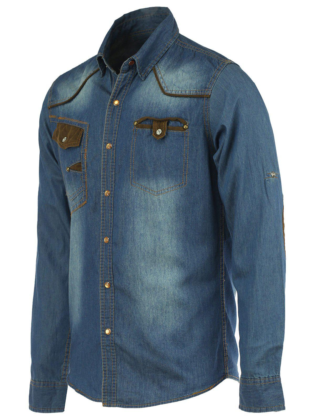 Suede Splicing Pockets Long Sleeve Denim Shirt - LIGHT BLUE M