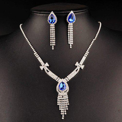 A Suit of Charming Faux Sapphire Wedding Jewelry Set For Women