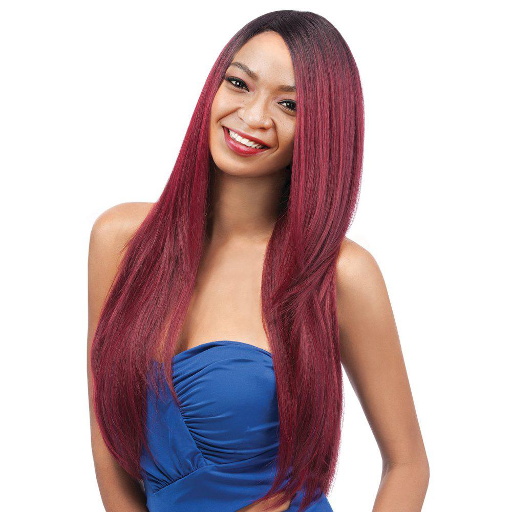 Elegant Women's Long Side Parting Straight Ombre Color Synthetic Hair Wig