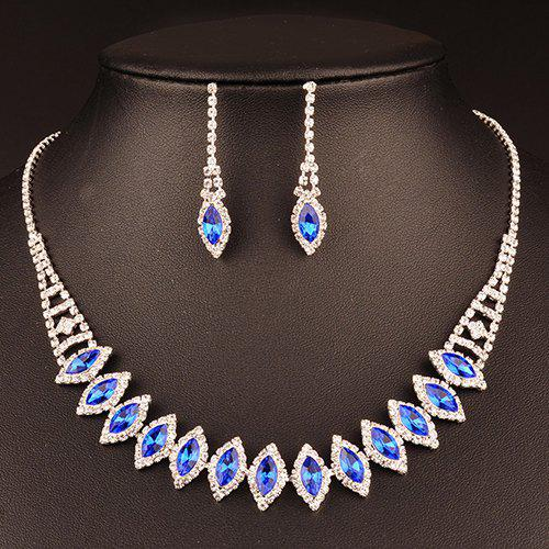 A Suit of Leaf Shape Fake Crystal Wedding Jewelry Set - BLUE