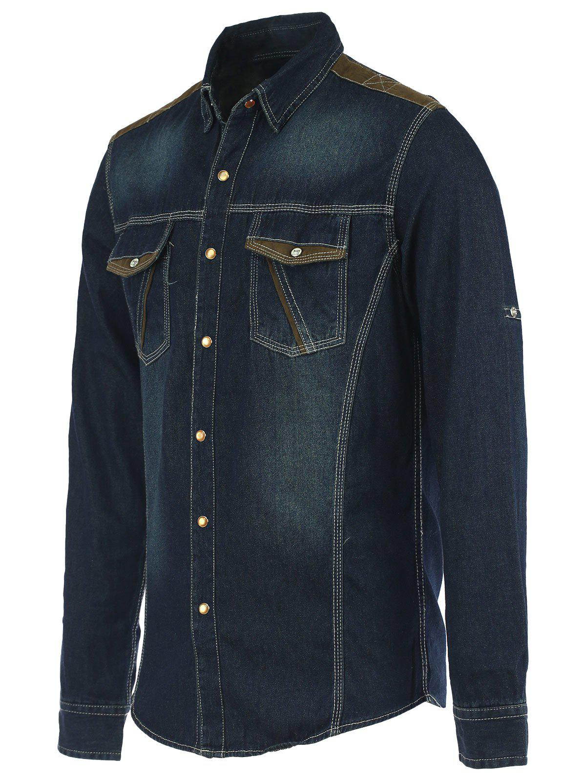 Pockets Suede Spliced Long Sleeve Denim Shirt