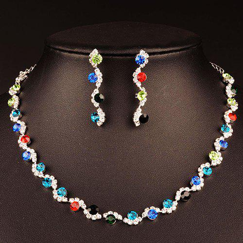 A Suit of Wavy Rhinestone Necklace and Earrings - COLORMIX
