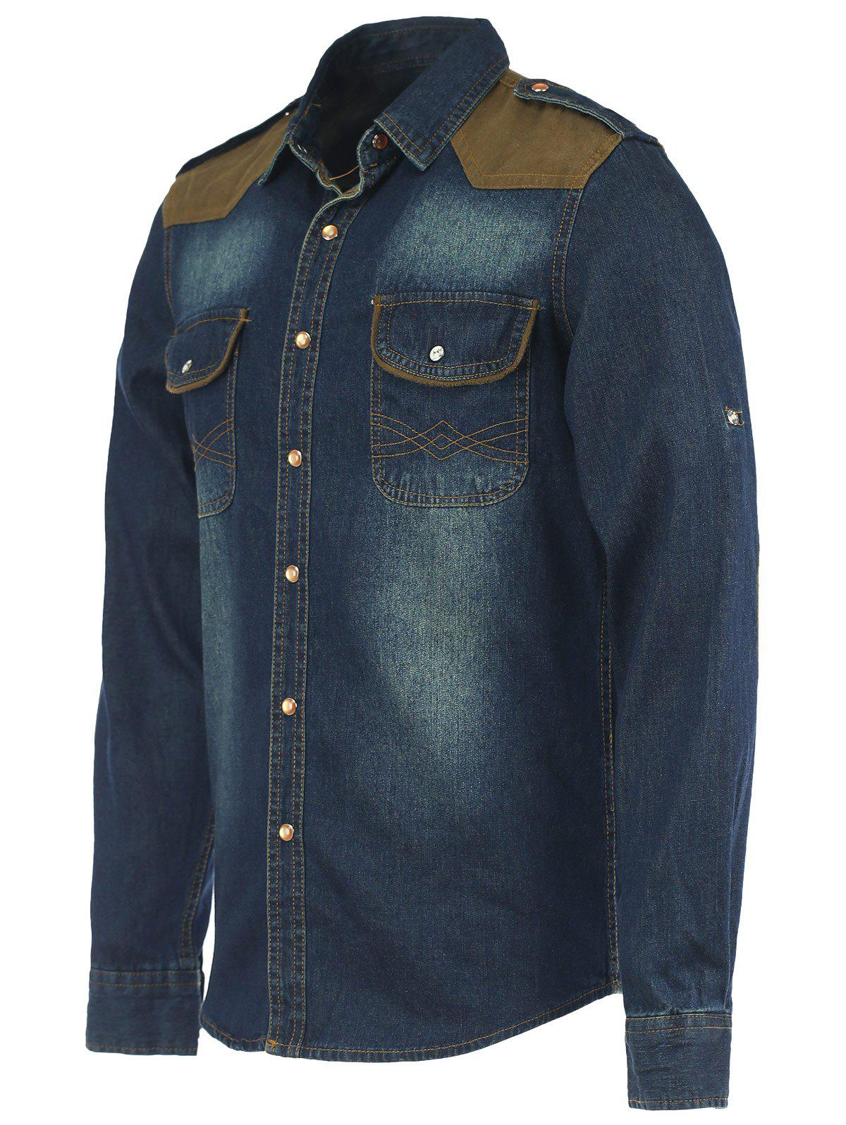 Epaulet Suede Spliced Long Sleeve Denim Shirt - DEEP BLUE M