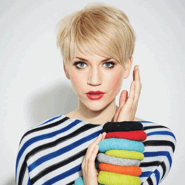 Noble Straight Layered Capless Short Inclined Bang Human Hair Wig For Women - BLONDE