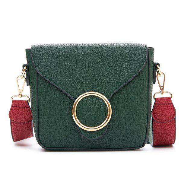 Trendy Metal Ring and PU Leather Design Women's Crossbody Bag - GREEN