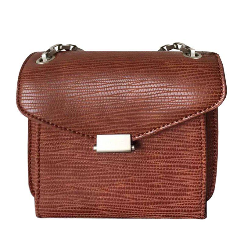 Retro Lizard Embossed and Metal Flap Design Women's Crossbody Bag - BROWN