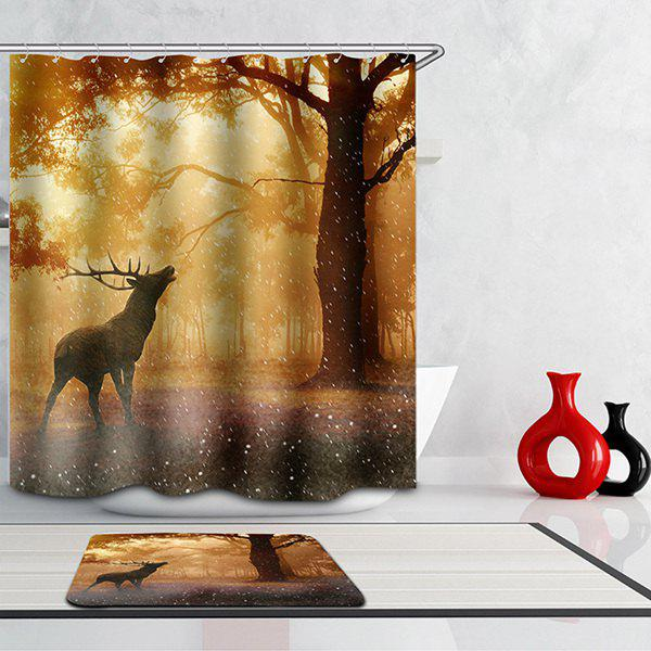 Mouldproof Waterproof Elk Printed Bathroom Shower Curtain waterproof mouldproof love birds printed shower curtain