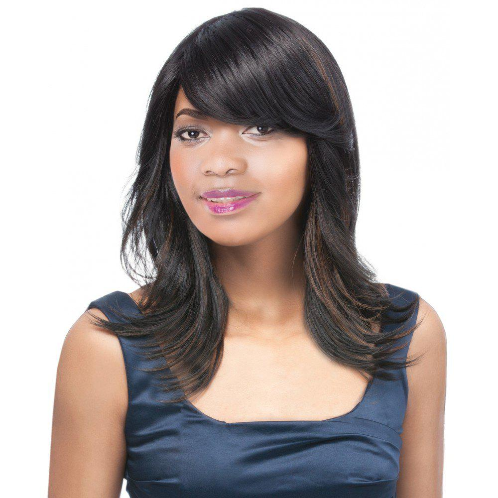 Elegant Women's Long Side Bang Straight Tail Upwards Mixed Color Synthetic Hair Wig