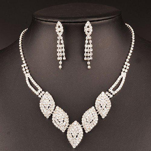 A Suit of Chic Rhinestoned Leaf Wedding Jewelry Set For Women