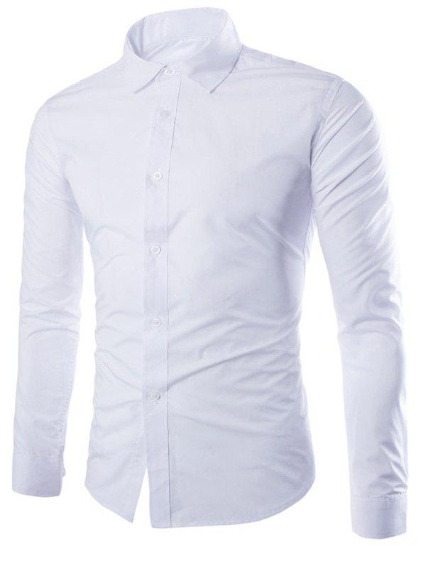 Candy Color Turn-down Collar Men's Long Sleeve Shirt - WHITE 3XL