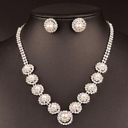 A Suit of Faux Pearl Wedding Jewelry Set - SILVER