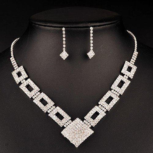 A Suit of Chic Geometric Wedding Jewelry Set For Women - SILVER