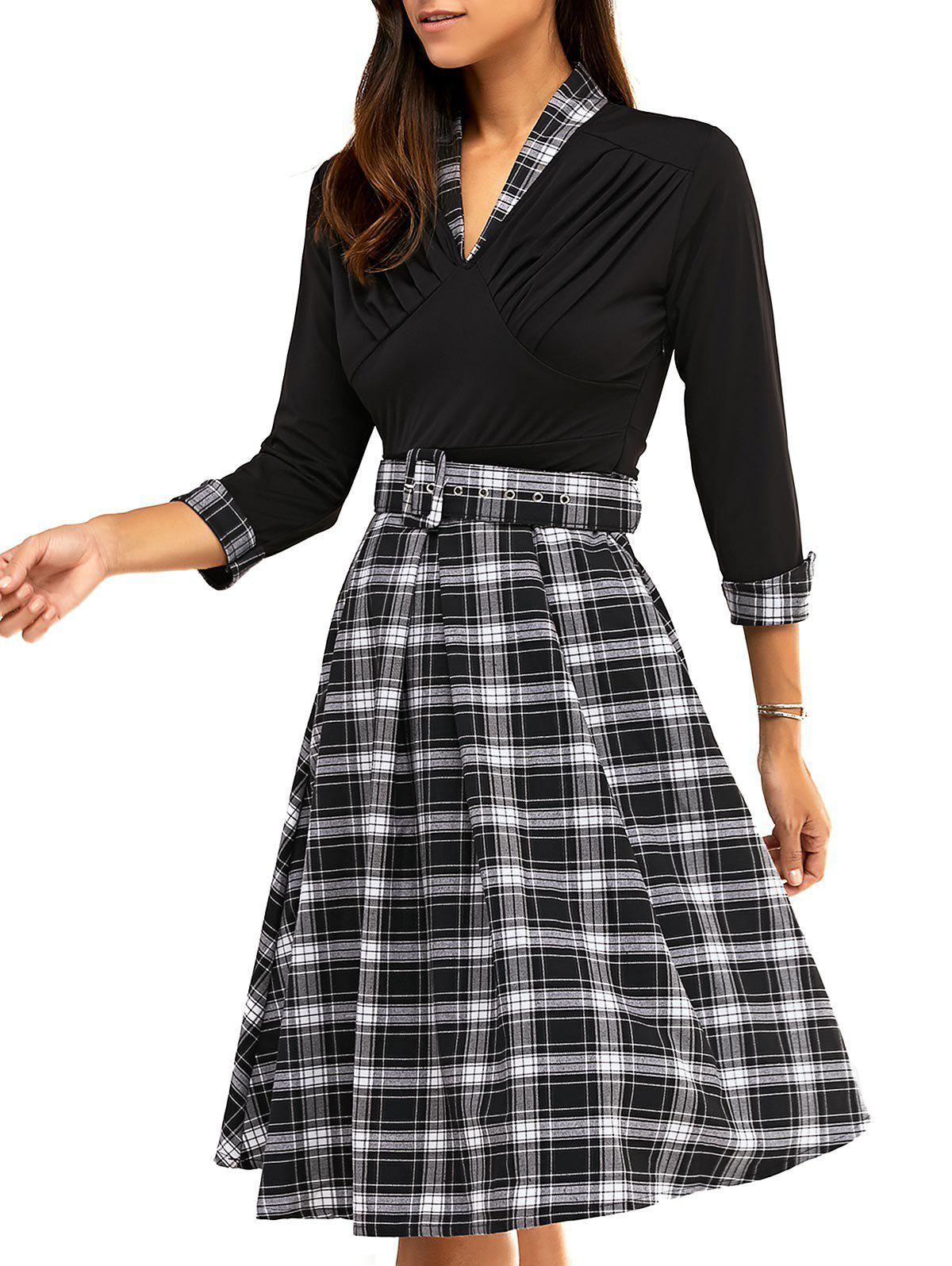 Vintage 3/4 Sleeve V Neck Plaid Knee-Length Dress - BLACK 3XL