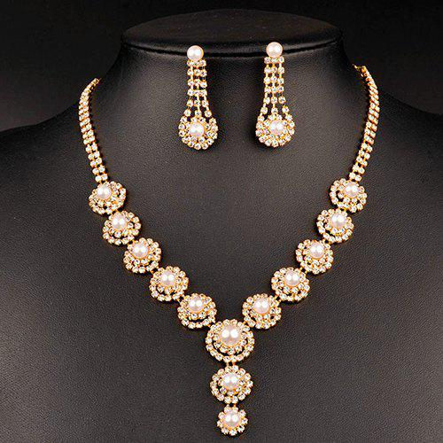 A Suit of Chic Artificial Pearl Wedding Jewelry Set For Women - GOLDEN