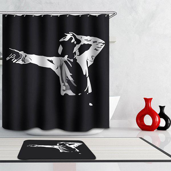 Fashional Thicken Waterproof Michael Jackson Pattern Shower Curtain - BLACK