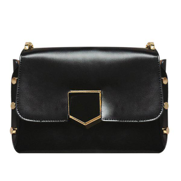 Trendy Metallic and Cover Design Women's Crossbody Bag - BLACK