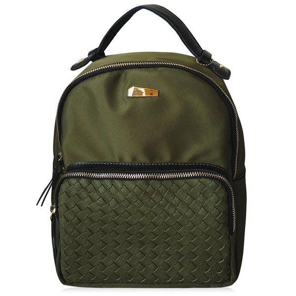 Leisure Woven and Nylon Design Women's Backpack - ARMY GREEN