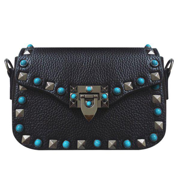 Trendy Rivet and Hasp Design Women's Crossbody Bag