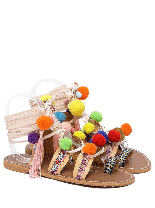 Casual Pom Poms and Geometric Pattern Design Women's Sandals - LIGHT BROWN 39