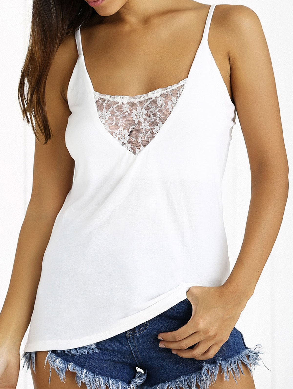 Plunge Neck Lace Insert Open Back Tank Top - WHITE XL