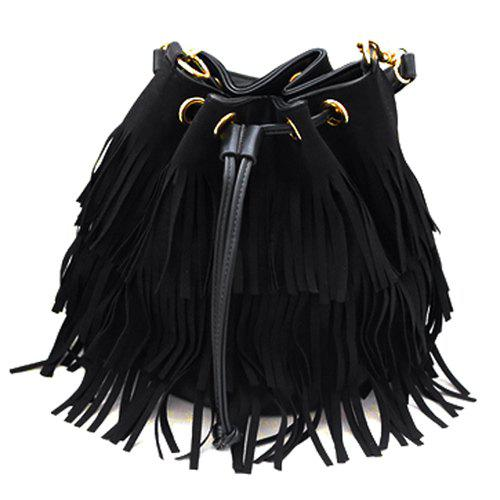 Fashionable Fringe and Black Design Women's Tote Bag - BLACK