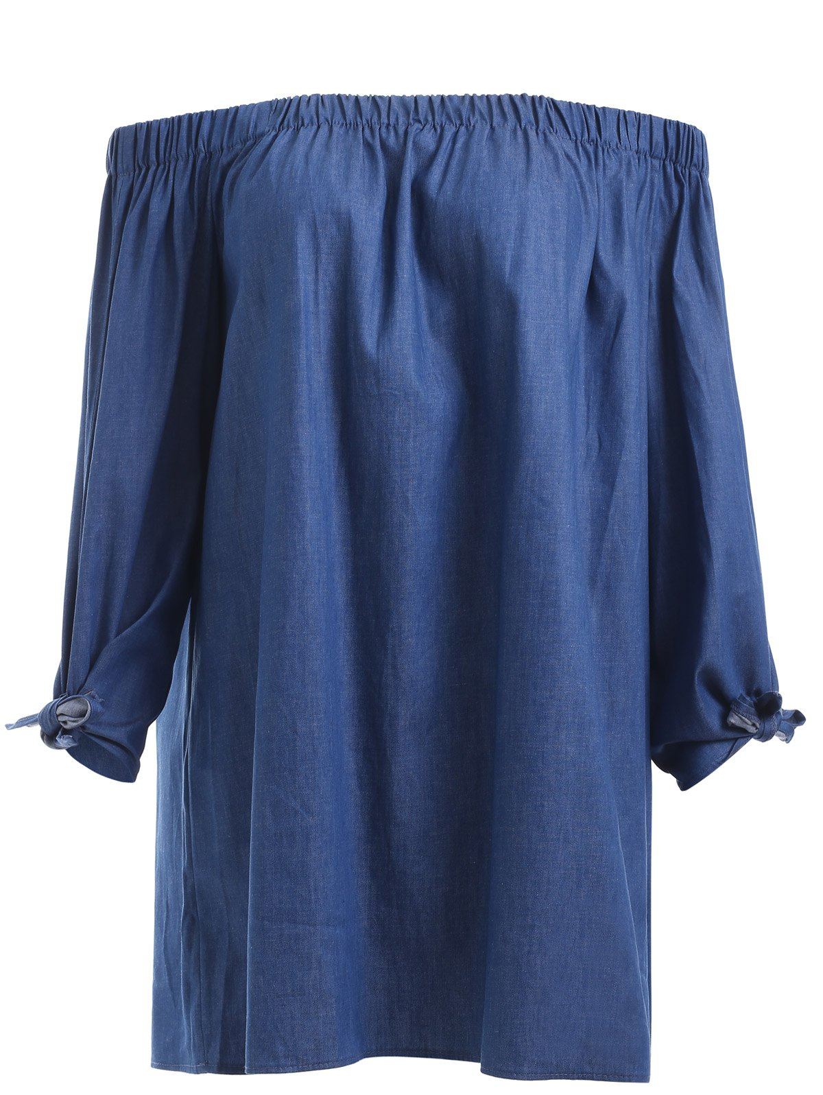 Brief Women's Off-The-Shoulder Tied Denim Blouse - DENIM BLUE S