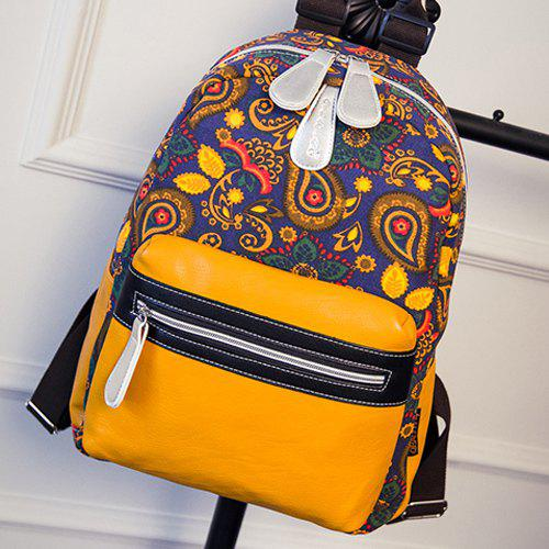 Stylish Paisley Print and Canvas Design Women's Backpack - YELLOW