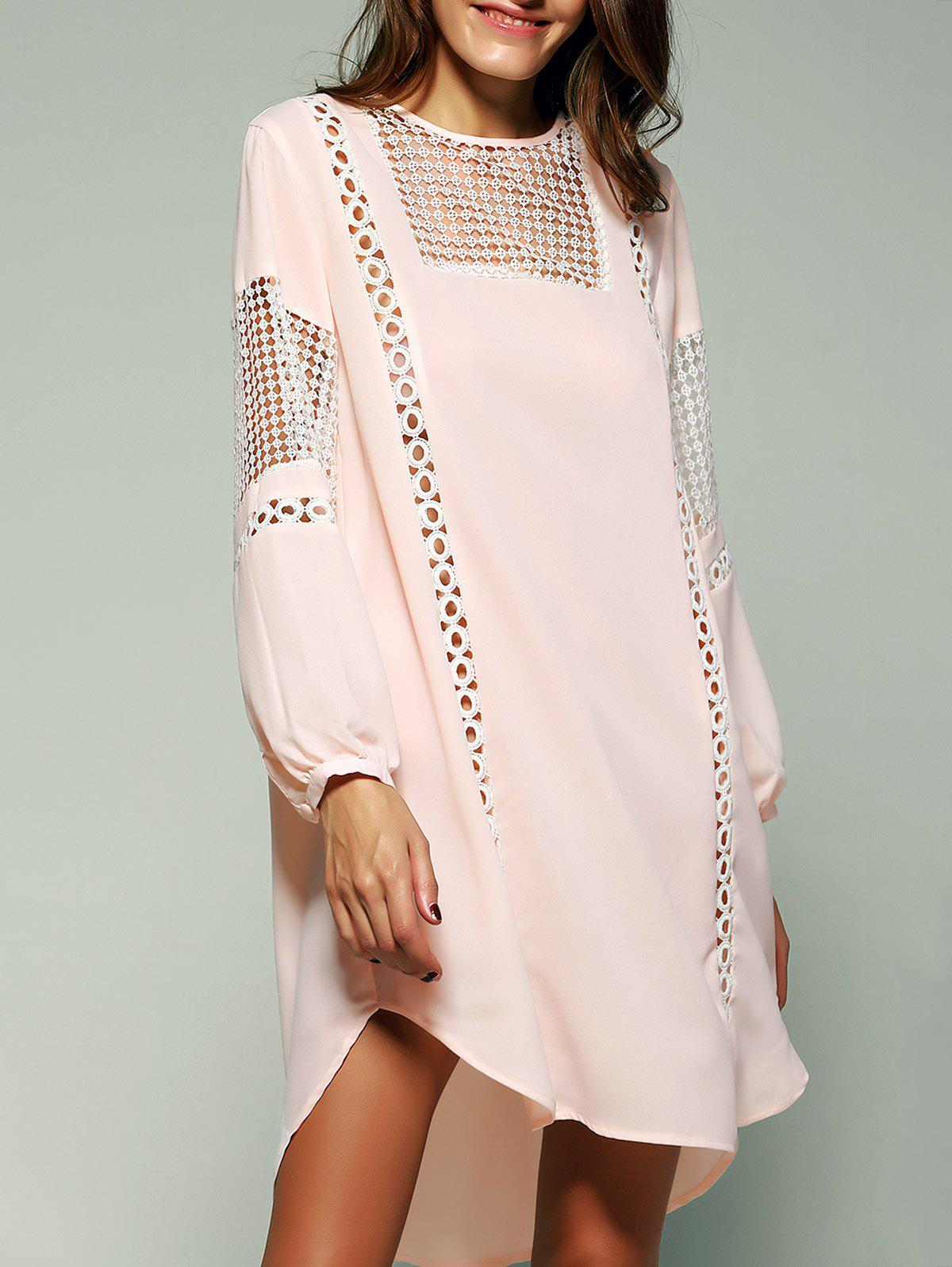 Bohemian Crochet Trim Lantern Sleeve Asymmetric Dress - SHALLOW PINK 2XL