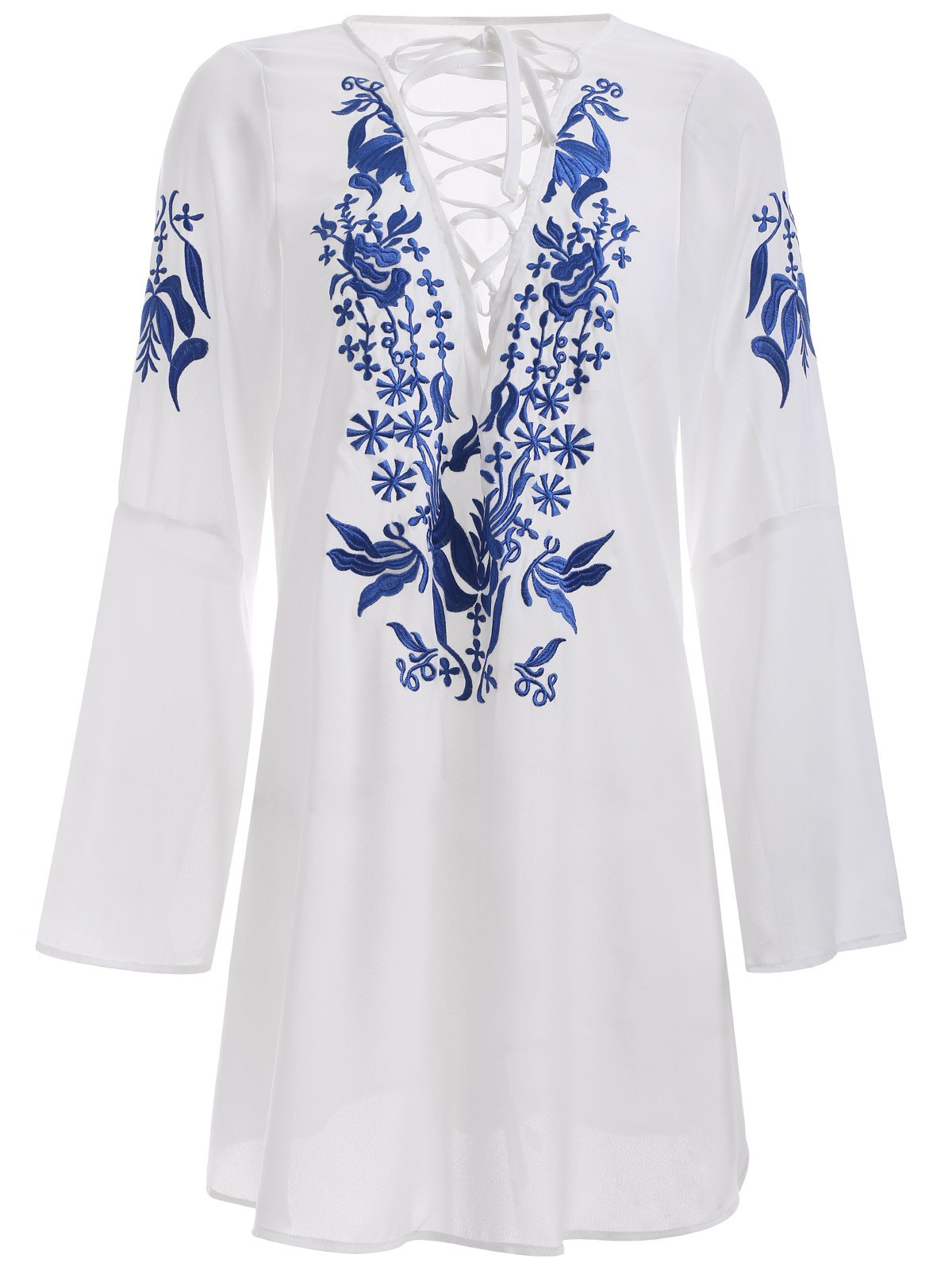 Brief Women's White Floral Print Lace-Up Dress - WHITE 2XL