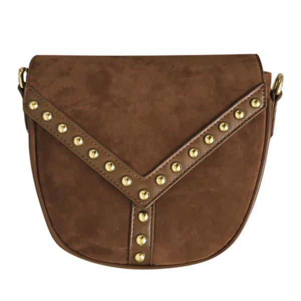 Retro Suede and Rivet Design Women's Crossbody Bag - BROWN